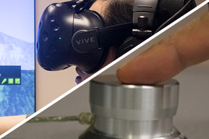 VR Headset and finger pressing One Button
