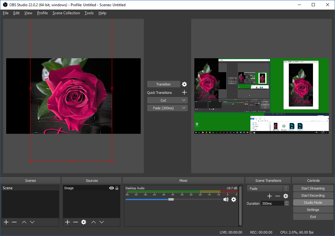 An obs interface, studio mode, transitioning from chaotic desktop to simple rose