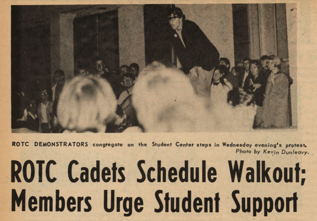 """ROTC cadets schedule walkout."" The Review, 1967 October 13. Volume 90, number 8, page 2"