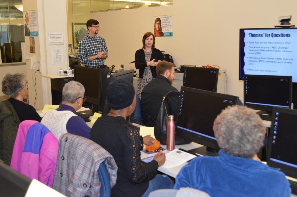 John Caldwell and Amanda McCollom lead a class on the basics of conducting oral histories.