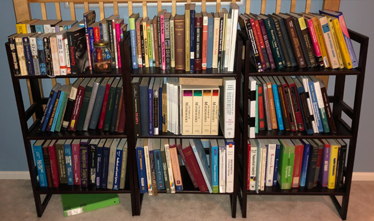 Bookshelf with Joseph Nakao's book collection