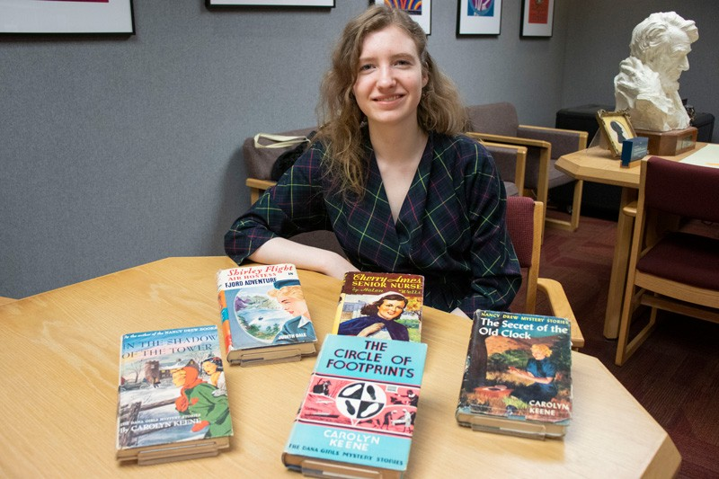 Miriam-Helene Rudd, a University of Delaware junior studying art conservation and art history, has been reading and collecting Nancy Drew mysteries since grade school. Today, her collection of more than 350 books features an array of leading ladies from 20th century mystery adventure series about and for young women.