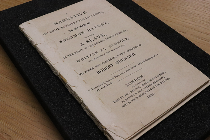 Photograph of the cover of A Narrative of Some Remarkable Incidents in the Life of Soloman Bayley, Formerly a Slave in the State of Delaware, North America