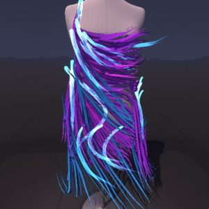 Students designed outfits on 3D dress forms using the Tilt Brush virtual reality application. Picture here is the work of Savannah Singer.