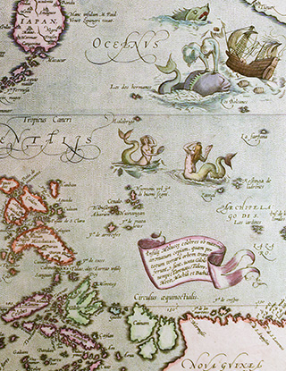A close-up detailed view of the Indiae Orientalis map.