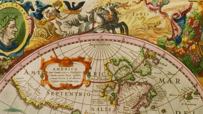 A close up view of details on a hand-colored map of the world.