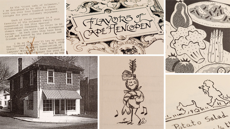 A compilation of black and white images, illustrations and recipes of Delaware cookbooks and food ephemera