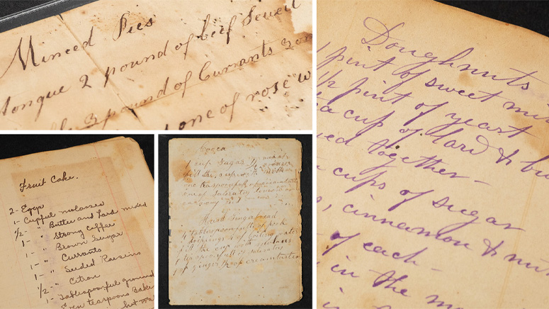 A compilation of handwritten recipes from historical cookbooks