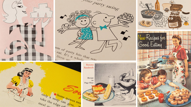 A compilation of color images, illustrations and recipes from marketing materials