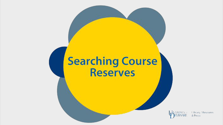 Searching Course Reserves Tutorial