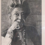 Charcoal portrait in Pauline A. Young Memorabilia Room