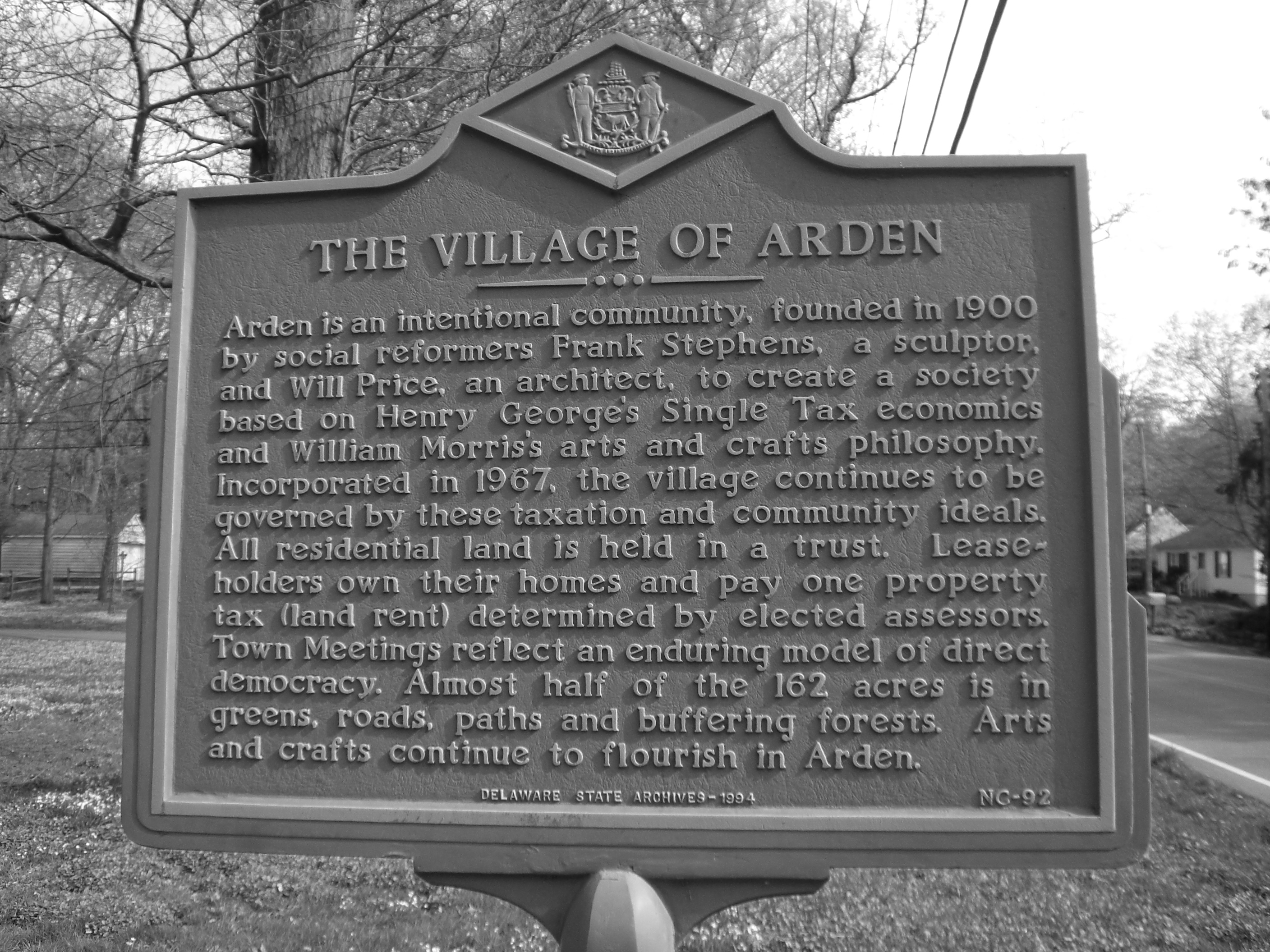 The Village of Arden Historical Marker