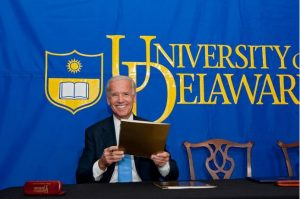 Photo : Evan Krape 2012: Vice President Joe Biden visits the University of Delaware in 2012 to donate his Senatorial Papers to the Library and give the inaugural James R. Soles Lecture to commemorate Constitution Day.
