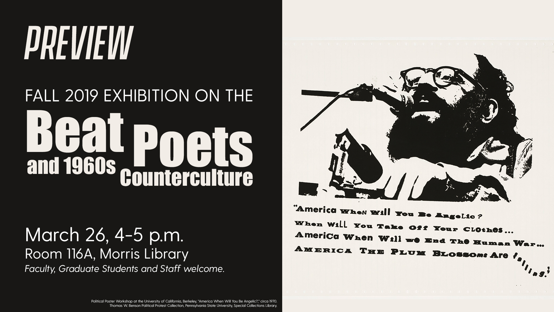 Promotional image for exhibition preview of Beat Poets