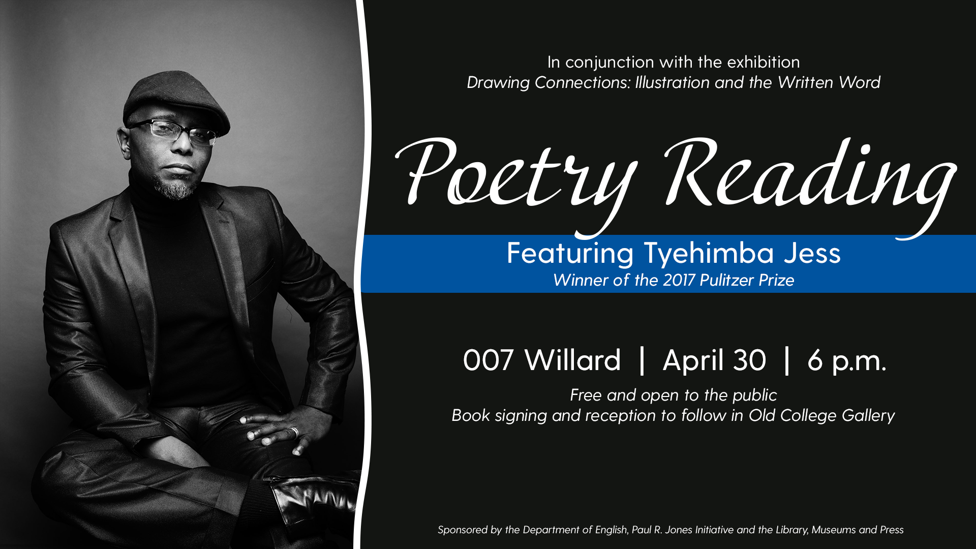 Promotional Image for Tyehimba Jess Poetry Reading