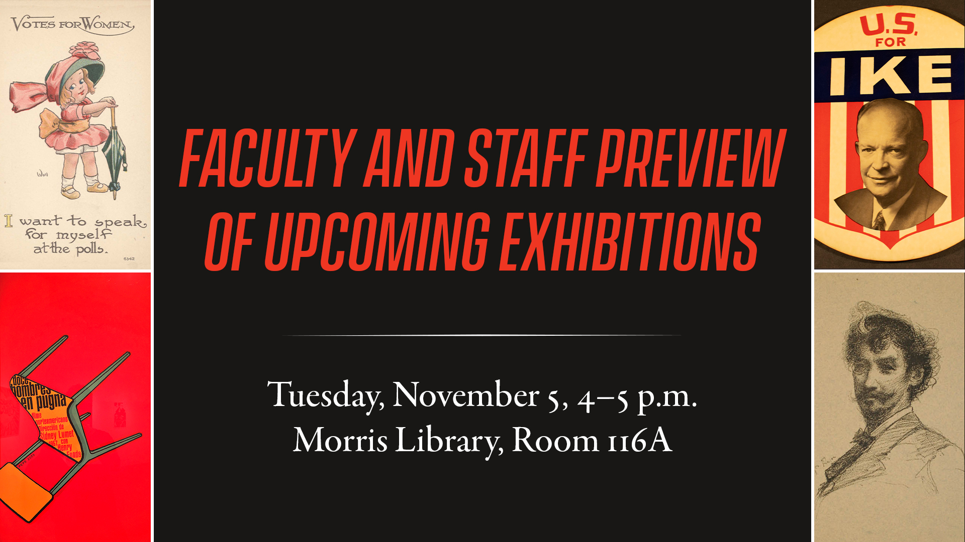 Promotional image for Faculty Preview of upcoming exhibitions
