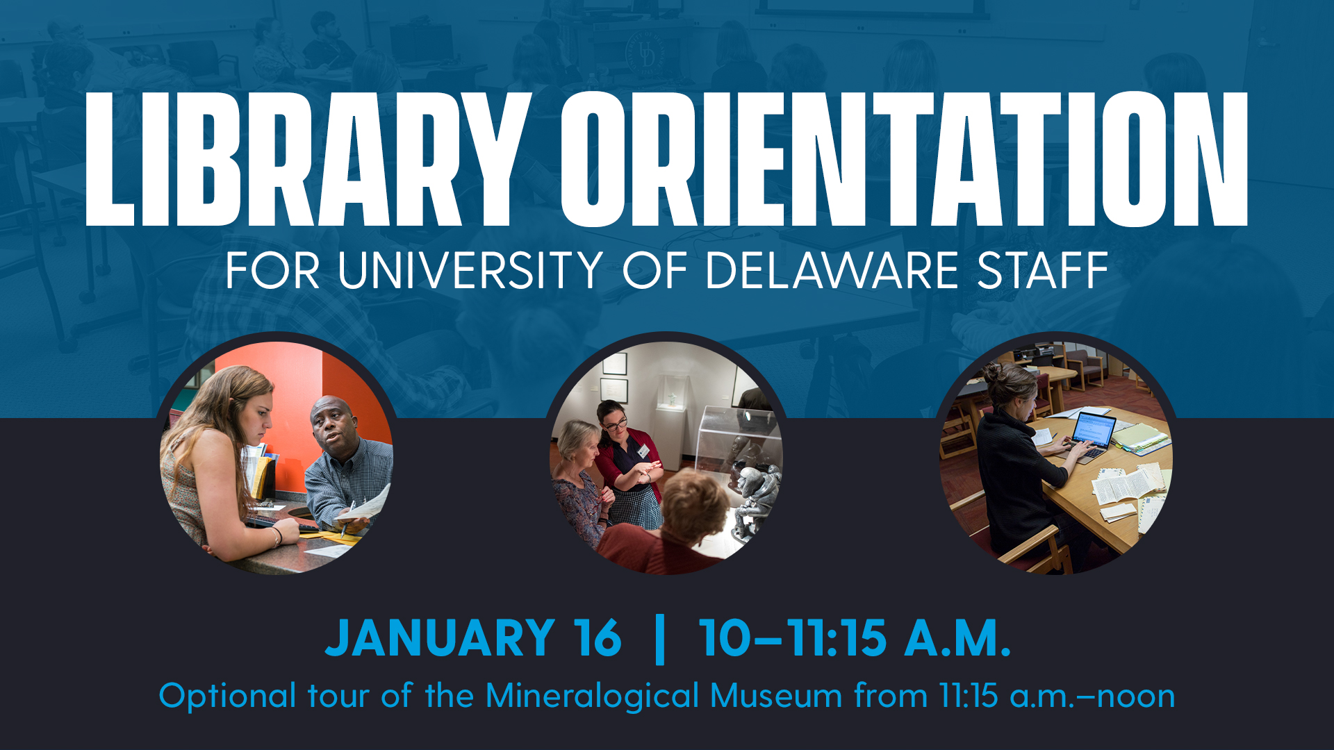 Promotional image for the Library Orientation for UD Staff workshop