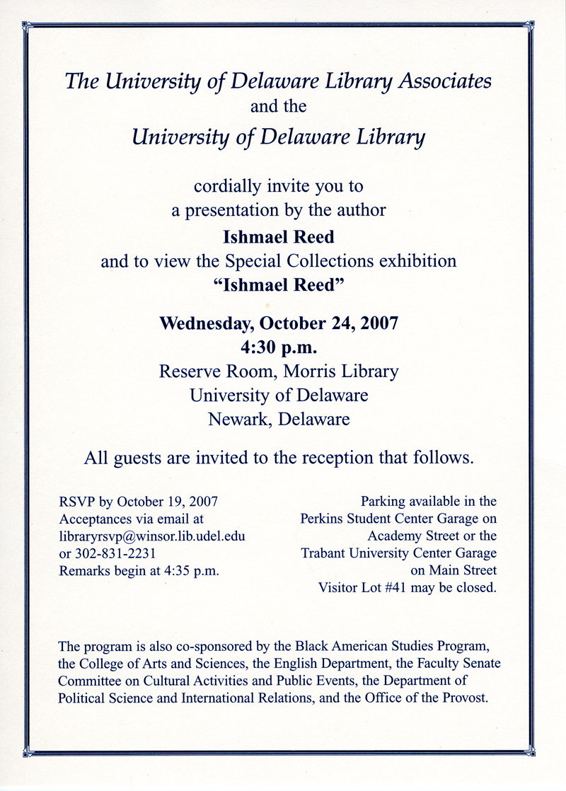 Invitation to attend Ishmael Reed Exhibition Program • University of Delaware Library