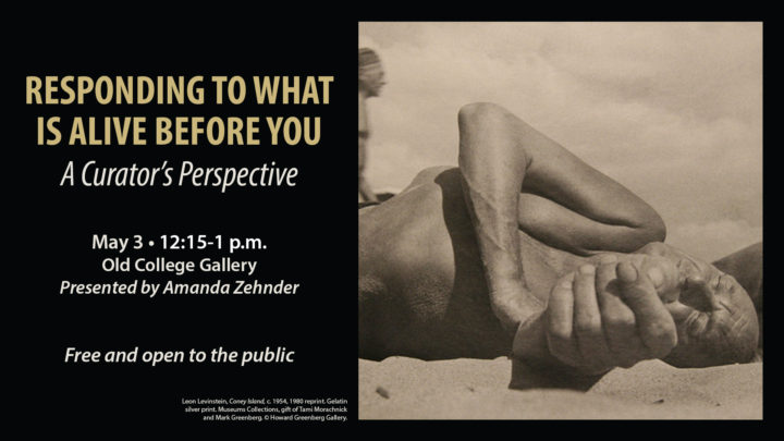 Responding to What is Alive Before You: A Curator's Perspective, March 21, 12:15-1 p.m., Old College Gallery, Presented by Amanda Zehnder, Free and open to the public